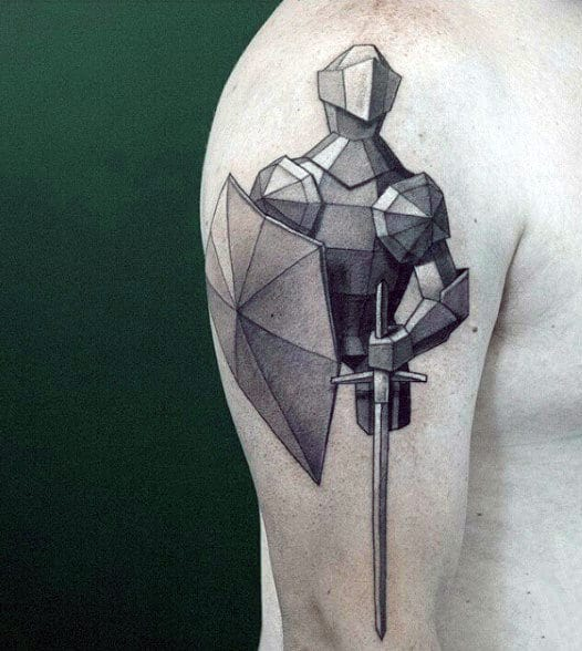 Sword With Knight Tattoo For Guys