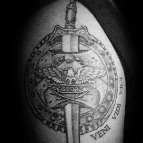 Sword With Spqr Veni Vidi Vici Mens Arm Tattoos