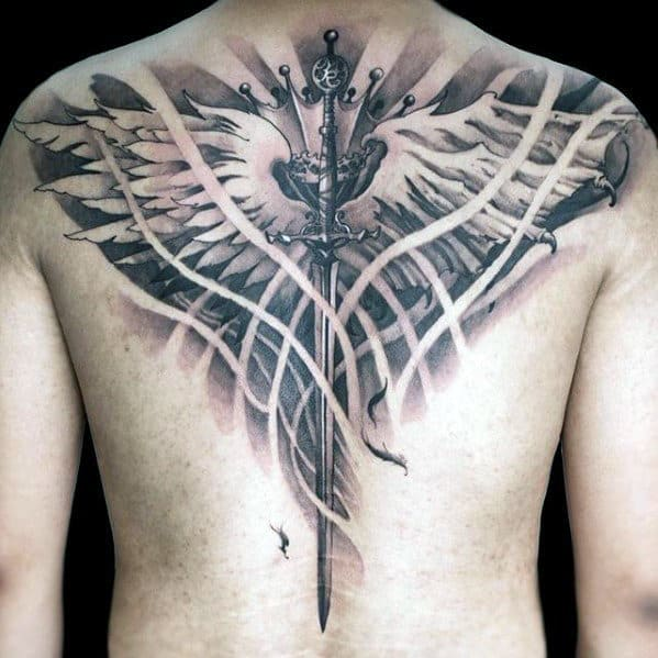 Sword With Wings Great Ideas For Mens Full Back Tattoos