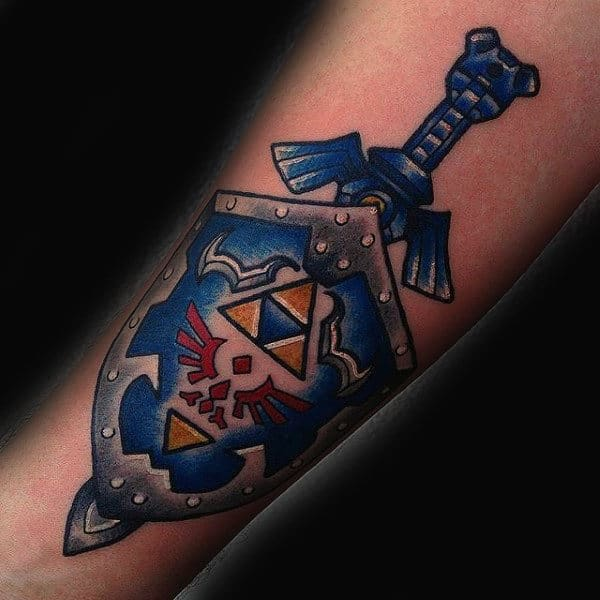 Sword With Zelda Shield Mens Forearm Tattoos