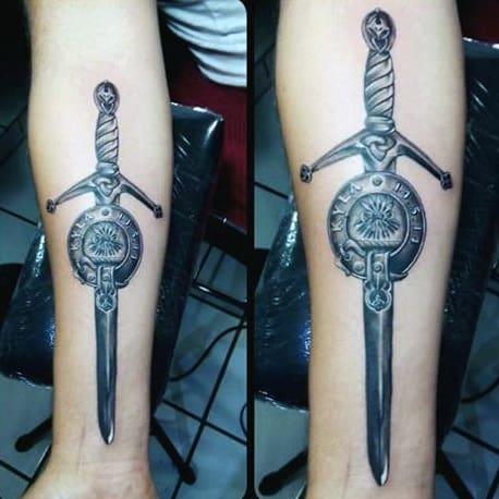 Swords Tattoos For Men On Inner Forearm