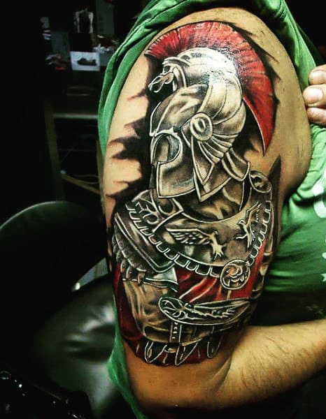Swordsman Gladiator Tattoo For Guys