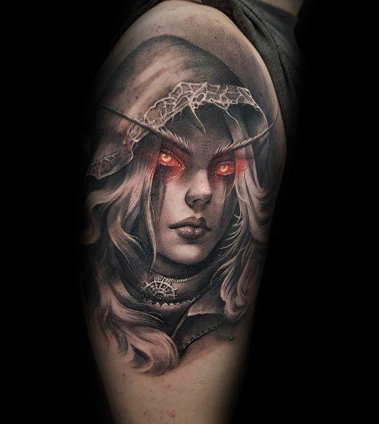Sylvanas Windrunner World Of Warcraft Themed Tattoo
