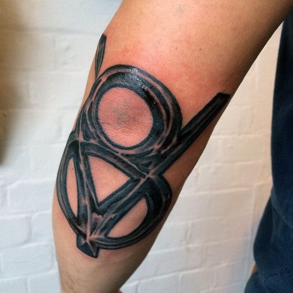 Symbolic V8 Hot Rod Tattoo Male Forearms