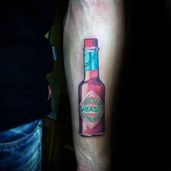 Tabasco Sauce Bottle Mens Small Detailed Tattoo On Inner Forearm