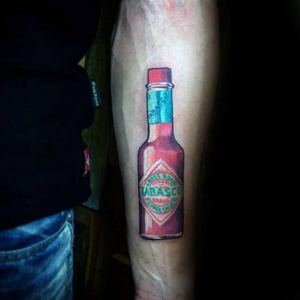 Tabasco Sauce Bottle Mens Small Detailed Tattoo On Inner Forearm