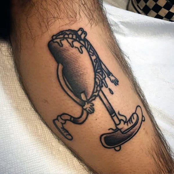 Taco Riding Skateboard Mens Creative Leg Tattoo Designs