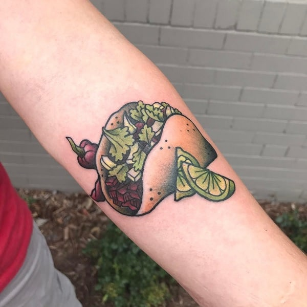 Tacos With Lime Guys Outer Forearm Tattoos