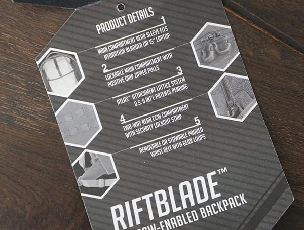 Tag Maxpedition Riftblade Backpack Highlights Tag