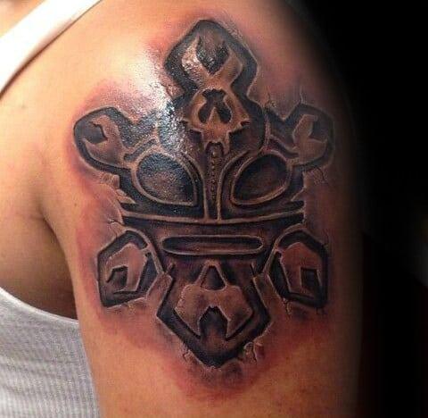 Taino Stone 3d Mens Sun Upper Arm Tattoo