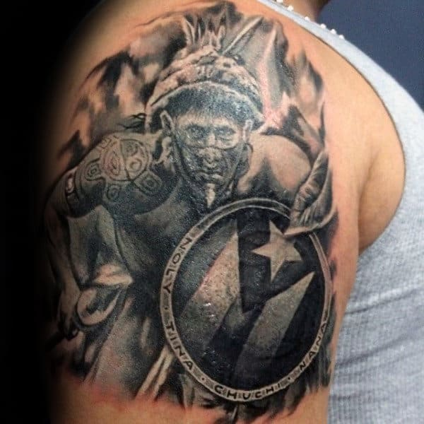Taino Warriior Mens Upper Arm Shaded Tattoos