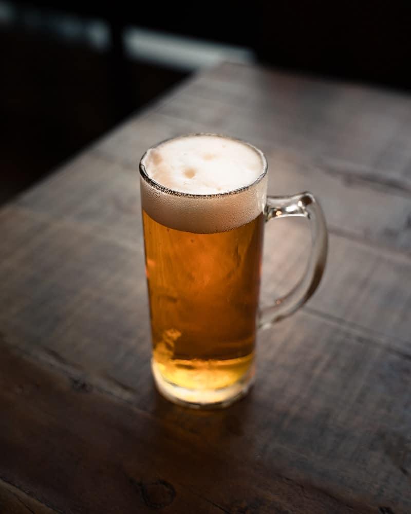 filled tall beer mug