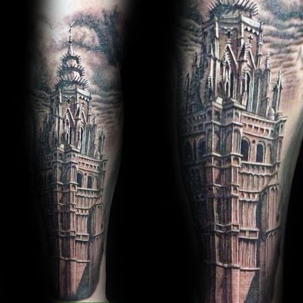 90 building tattoos for men architecture ink design ideas. Black Bedroom Furniture Sets. Home Design Ideas