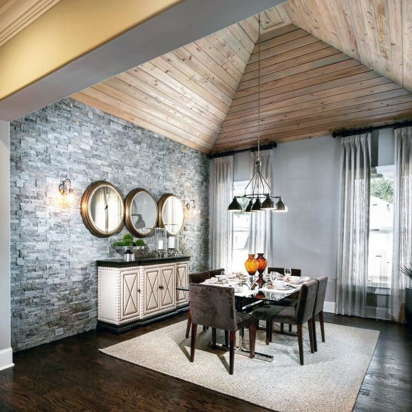 Dining Room Ceilings: Top 60 Best Wood Ceiling Ideas