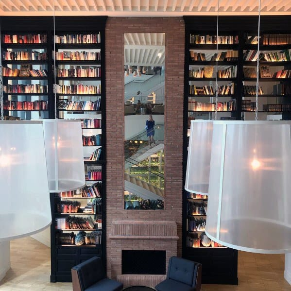 Tall Living Room Fireplace Floor To Ceiling Bookshelves Ideas