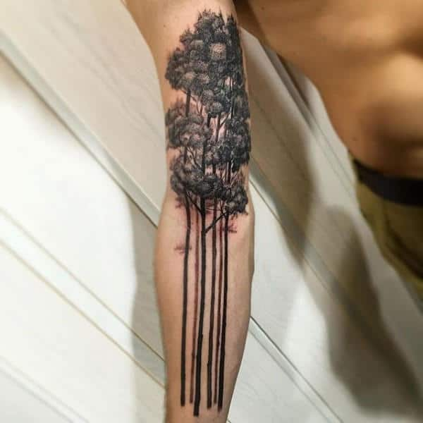 Tall Trees Guys Forearm Tattoo