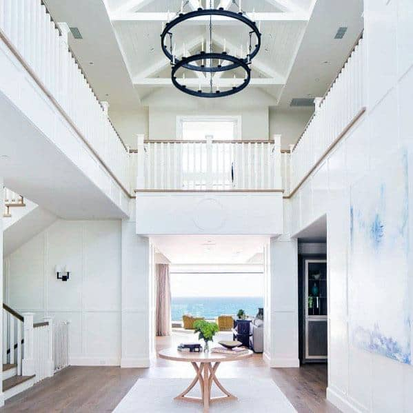 Tall White Painted Unique Vaulted Ceiling Designs