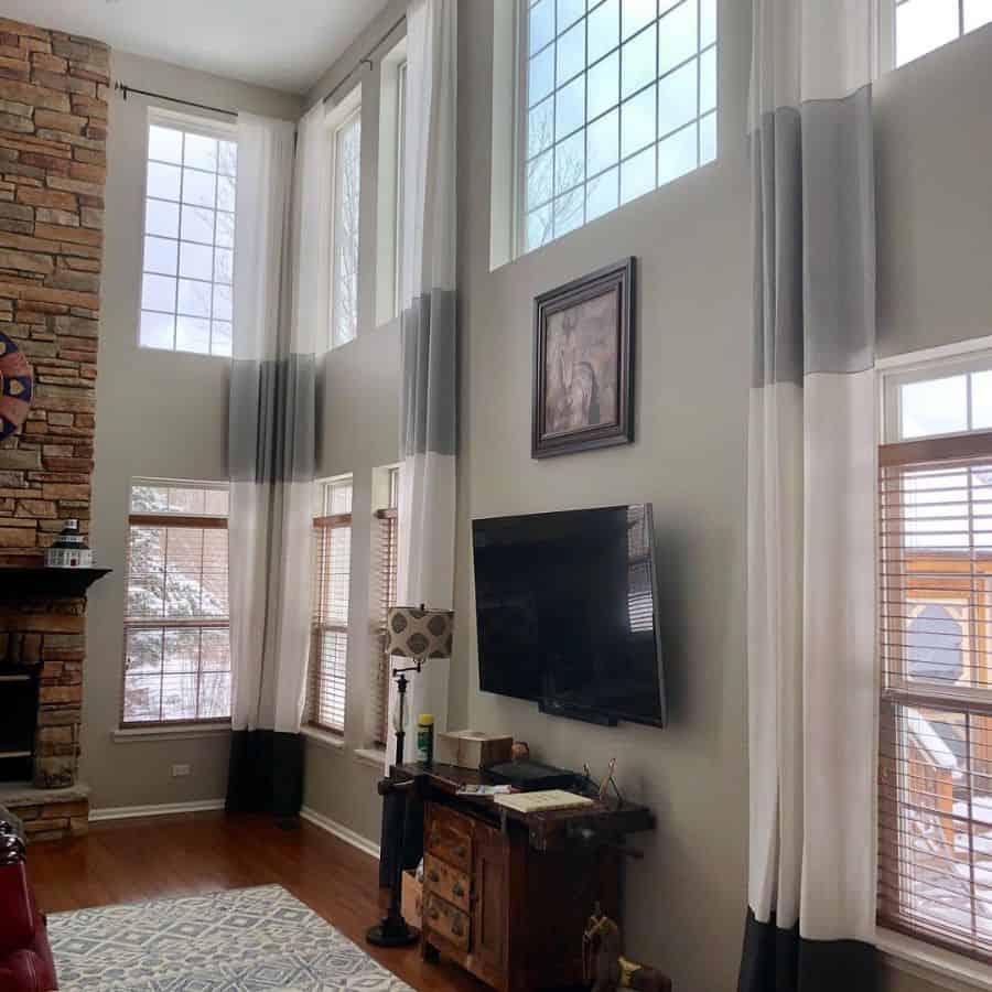 Tall Window Living Room Curtain