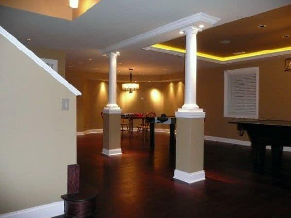 Top 50 Best Basement Pole Ideas, Basement Pole Drink Shelf