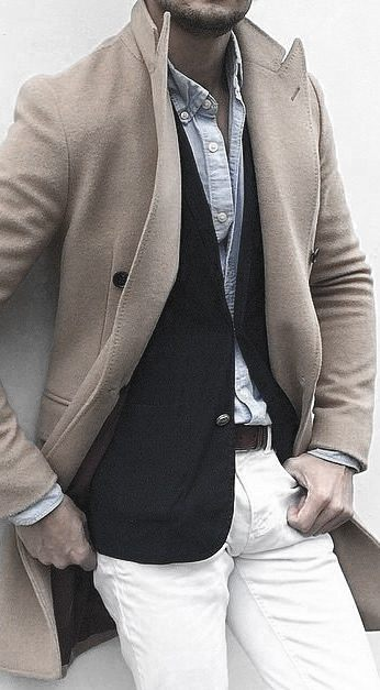 Tan Coat Light Blue Dress Shirt What To Wear With White Jeans Outfits Male Style