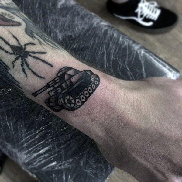 Tank Tattoo Design On Man
