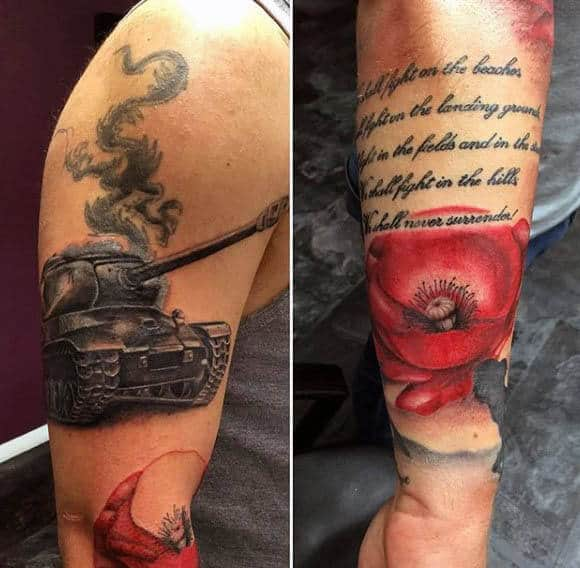 Tank With Quote And Red Poppy Mens Arm Tattoo Design