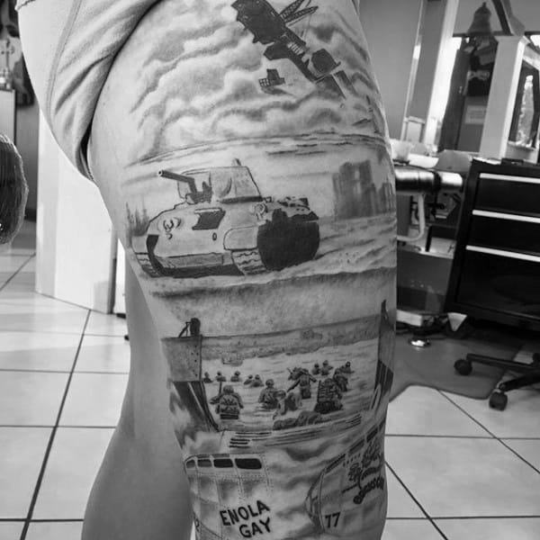 Tanks On Beach Mens Ww2 Thigh Sleeve Tattoo