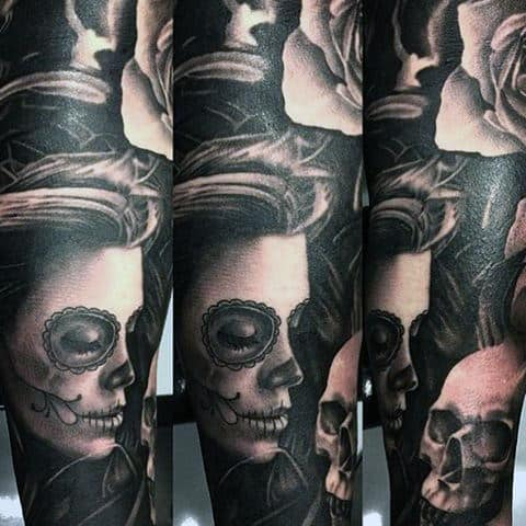 Tantalizing Dark Day Of The Dead Tattoo Mens Forearms