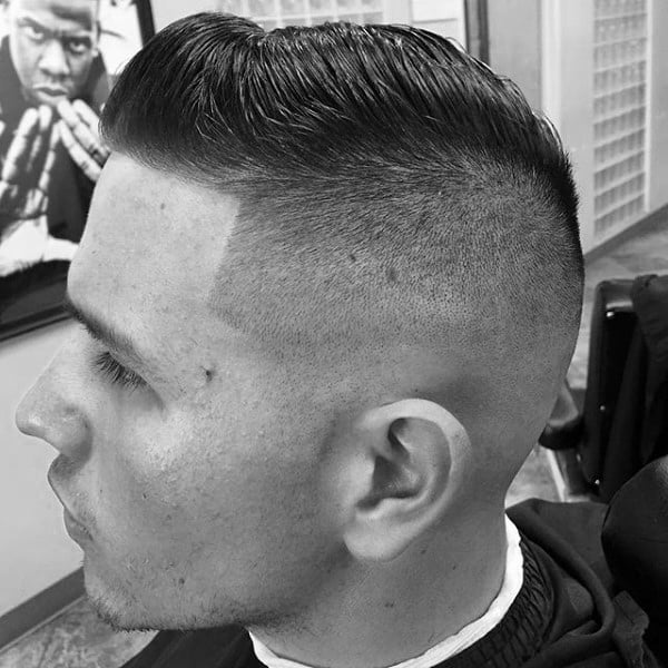 Taper Fade With Comb Over Hair For Men