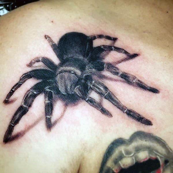Tarantula Spider With Shadow Mens Shoulder Tattoos