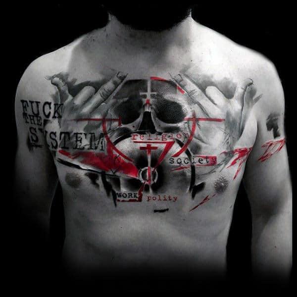 Target Mens Trash Polka Chest Tattoos