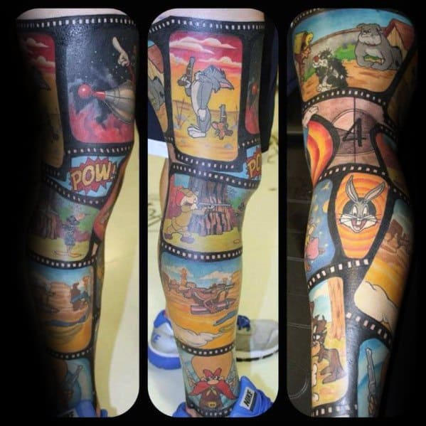 Tasmanian Devil Guys Tattoos Leg Sleeve Looney Tunes Themed
