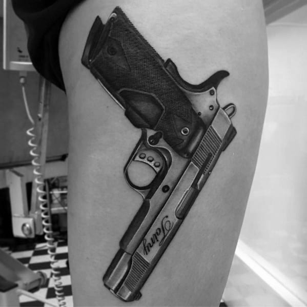 Tattoo 1911 Ideas For Guys On Side Of Leg Thigh