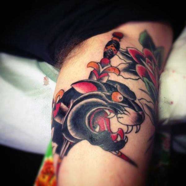 Tattoo Arm Old School Panther Dagger For Men