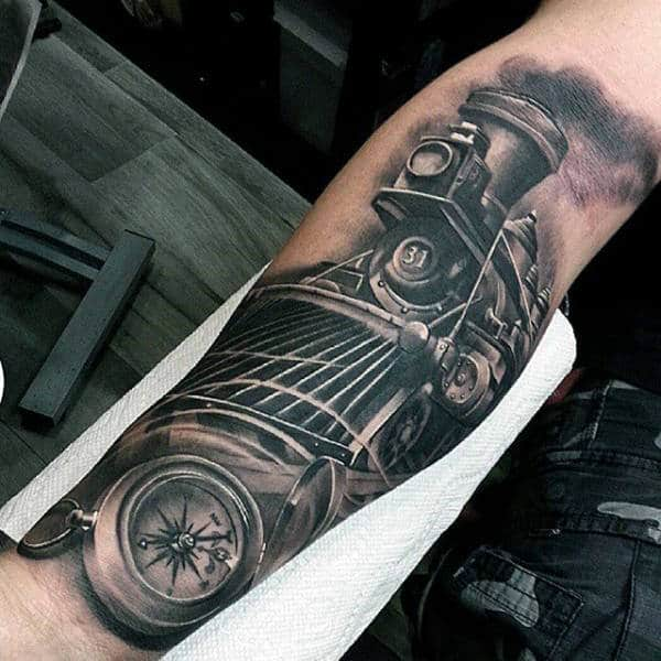 Tattoo Arm Realistic Train