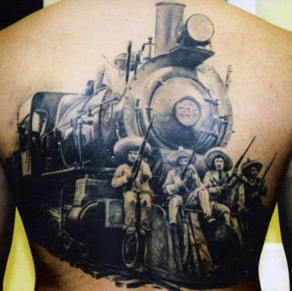Tattoo Back Realistic Train