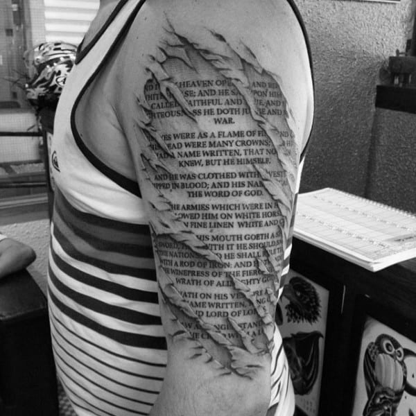 Tattoo Bible Verses For Males Half Sleeve Design With Ripped Skin