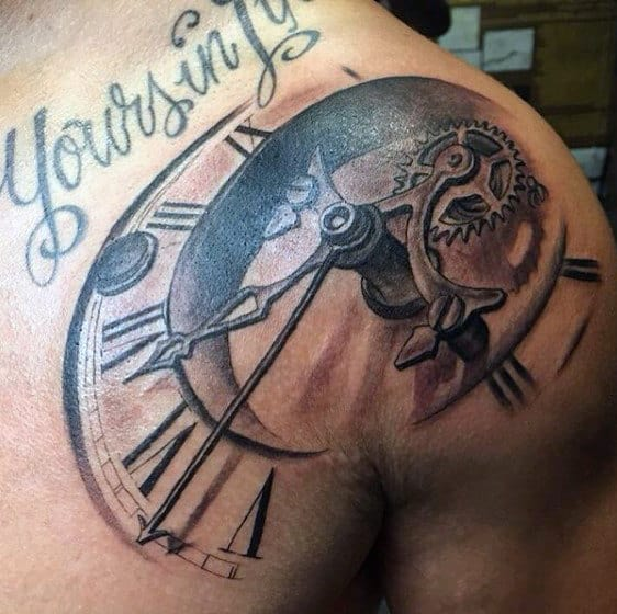 Shoulder Tattoo Clock Designs Men