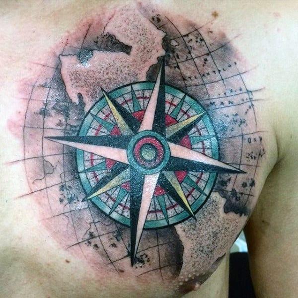 Color Tattoo Compass Rose Men
