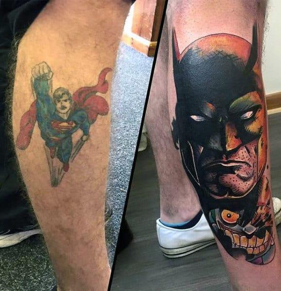 Tattoo Cover Up Batman Design On Mans Leg