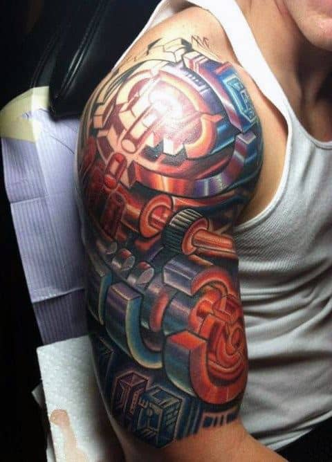 Tattoo Cover Up Sleeve Mens Mechanical Gears 3d Design Ideas