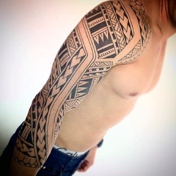 Tattoo Design Samoan Tribal Mens Half Sleeve Tattoos