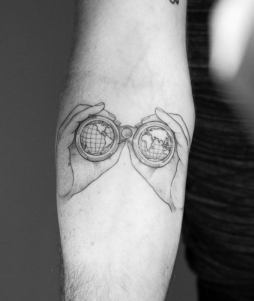 Tattoo Detailed Binoculars Globe Inner Forearm Designs For Men