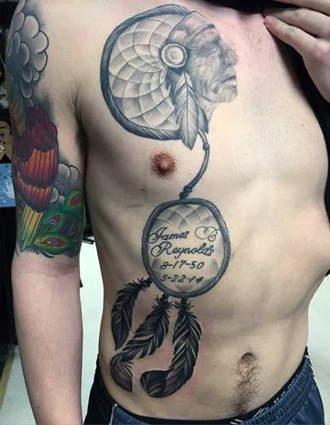 Tattoo Dreamcatcher On Man Chest With Indian Head