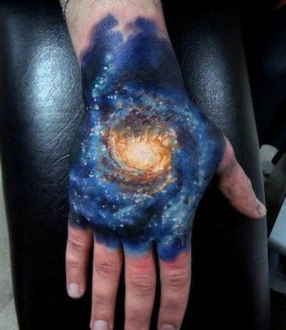 Universe Galaxy Tattoo Hand