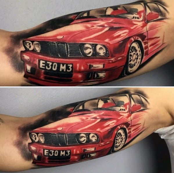 Tattoo Ideas Bmw 3d E30 M3 Car On Inner Arm Bicep