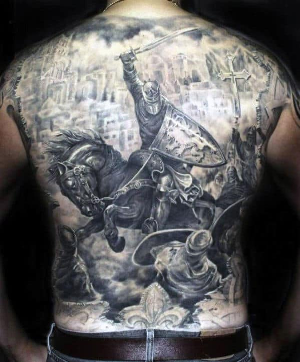 Battle Tattoos Ideas For Men Back