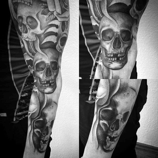 50 Skull Sleeve Tattoos For Men - Masculine Design Ideas