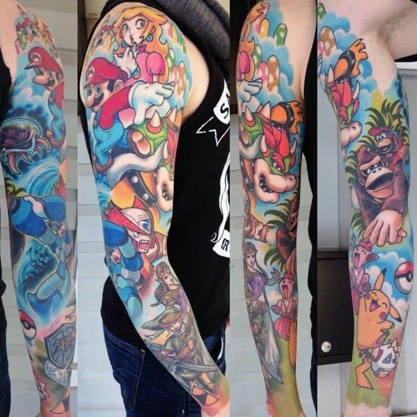 Tattoo Mario Video Game Designs For Men
