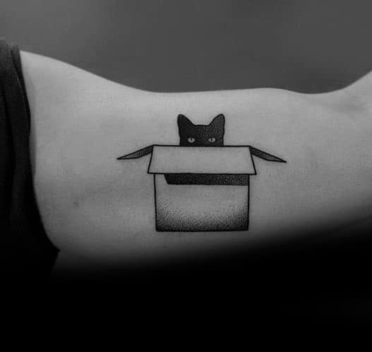 Tattoo Mens Cat In Box Bicep Of Arm Design